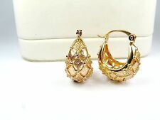18ct real gold GF hoop earrings, weight 3.7g