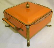 Retro -  Mid Century Modern, Fire King Square Orange Casserole Chafing Dish