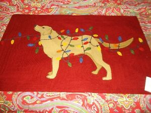 Pottery Barn DOG WITH LIGHTS Tangled Lab Crewel Embroidered Lumbar Pillow Cover