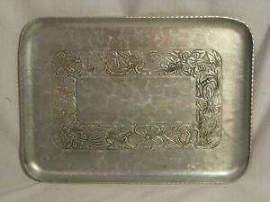 "vintage rectangular Hand Forged Everlast Metal tray platter ornate flower 10"" x"