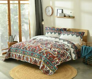 DaDa Bedding Bohemian Earthy Meadow Colorful Floral Paisley Quilt Bedspread
