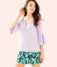 Lilly Pulitzer Teigen Top Womens Size L Purple Lilac Blouse Flounced