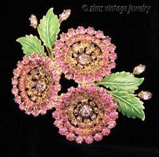 Vintage ALICE CAVINESS Pink rhinestone FLOWER floral enamel Gold PIN brooch