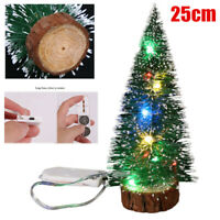 LED Mini Sisal Christmas Trees Ornament Snow Frost Small Pine Tree XMAS Decor