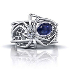 Men Women Spider 925 Silver 1.68 Ct  Sapphire Wedding Engagement Ring Size 6-10