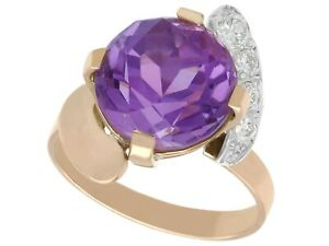 Vintage 4.92 ct Amethyst and 0.25 ct Diamond, 9k Rose Gold Twist Ring