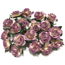 Purple And White Open Mulberry Paper Roses Card Making Craft Flowers Or052