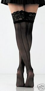 Foot Traffic Ladies Black Lace Top Fishnet Thigh High With Backseam Hosiery New