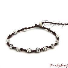 Hippie Dark Chocolate Hemp w Silver Plate Flower Beads Anklet