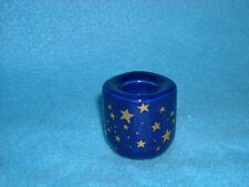 Blue with Gold Stars Porcelain Chime Candle Holder, hand painted, NEW, 1/2 diam.