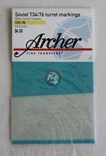 Archer 1/72 Russian T-34/76 Tank Turret Markings WWII Sheet #1 (7 tanks) AR72028