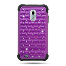SAMSUNG GALAXY S2 EPIC TOUCH D710 STUDDED DIAMOND PURPLE PC+BLACK RUBBER