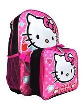 Hello Kitty School Backpack Lunch Box Set Little Girls Cute Black BookBag Sanrio