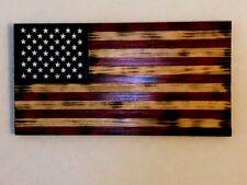 "Rustic Handmade Torched Wood American Flag 18 3/4"" x 9 3/4"""
