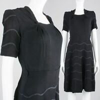 S Vintage 1930s Black Cocktail Dress Short Sleeve Rayon Crepe Ribbon 30s 40s