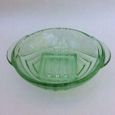 Vintage Art Deco Green Depression Glass Dish Geometric Pattern