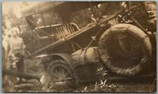 """Vintage RPPC Photo Postcard Fuzzy Picture of a Car Stuck in a """"Mud Hole"""" c1910s"""