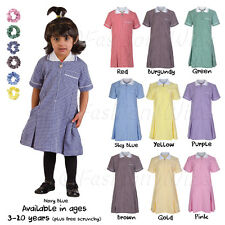 Girls School Summer Gingham Dress Age 4 5 6 7 8 9 10 11 12 13 14 15 16 17 18 20