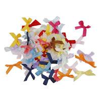 100pcs Mini Satin Ribbon Flowers Bows for DIY Craft Wedding Decor Colorful