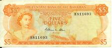 Central Bank of Bahamas 1974 $5 Five Dollars P-37b Allen Signature F/VF SCARCE
