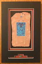 Petroglyph original signed matted folk art painting etching story rock w/ stone