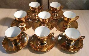 8 x Vergoldet JK Bavaria - Western Germany - Vintage Gold Coffee Cups & Saucers