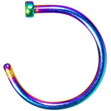Nose Chin Hoop Anodized Rainbow Rook Snug Earring Lip Body Piercing Ring 20g 8mm