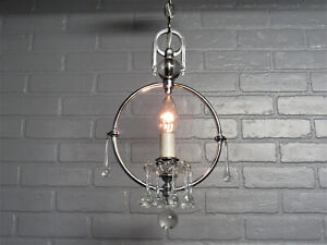 Vintage Antique Art Deco Nickel Crystal Chandelier Ceiling Light Restored 24.75""