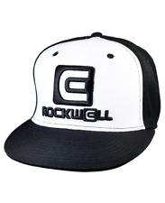 Rockwell Time OG Snapback Flat Brim Hat, White/Black, One Size