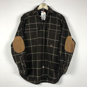 TOMMY HILFIGER Mens Shirt M Wool Blend Brown Plaid Flannel Button Up Elbow Patch