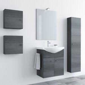 Mobile Bagno 55 cm SOSPESO lavabo ceramica specchio luce ROVERE SCURO Zaffiro