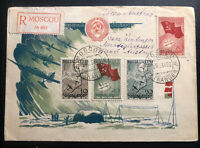 1938 Moscow RUSSIA USSR First Day Cover FDC to Vienna Austria Sc#625-8 Airplane