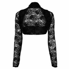 Ladies Stretchy Lace Cropped Bolero Shrug Women sheer Party Open Top Size 8-22