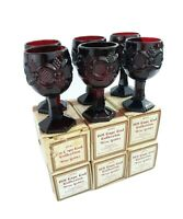 "Vintage Set 6 AVON 1876 Cape Cod Ruby Red Small Wine Glasses Goblets Pedestal 4"""