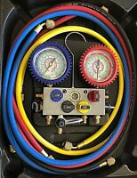 Mastercool 4 Way Charging & Testing Aluminum Manifold Gauge Set Carry Hard Case