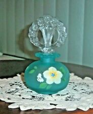FENTON HANDBLOWN - HANDPAINTED AQUA SATIN GLASS PERFUME BOTTLE - PERFECT