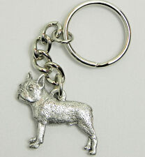 Boston Terrier Dog Keychain Keyring Harris Pewter Made Usa Key Chain Ring