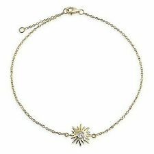 Bling Jewelry CZ Gold Plated Silver Sunburst Charm Sun Anklet Adjustable