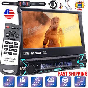 "Single 1 DIN 7"" HD GPS NAV Car Stereo CD DVD Player USB Radio Bluetooth+Camera"