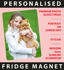 PERSONALISED PHOTO / ARTWORK Printed Fridge Magnet / Small Plaque 75 x 50mm