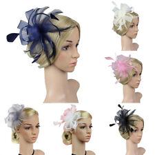 EG_ 10Colors Women Feather Flower Fascinator Hair Clip Hairpin Wedding Party Str