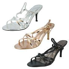 Ladies Spot On Open Toe Plain Slingback Kitten Heels Formal Party Sandals F1715