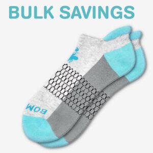 Ocean BLUE/Gray Bombas Men's Ankle Socks Honeycomb Medium ~ BULK SAVINGS ~ NWT