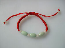 1 x Chinese Oriental Green Jade Beads Red Thread Lucky Bracelet Gift