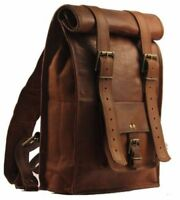 Unisex Leather Roll Top Vintage Travel Backpack Hiking Rucksack Brown