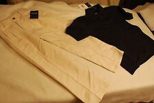 Arrow Nwt 2 pc Set Navy Polo & Linen Pant Boys Size Xs 6 / 7 school uniform