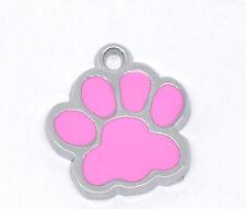 20PCs Silver Tone Enamel Dog' Paw Charm Pendants 18x17mm