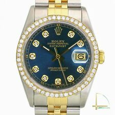 Rolex Datejust Mens 36mm Two-Tone Metal Blue Diamond Dial and Bezel Watch