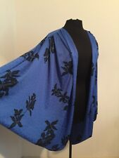 💋 Royal Blue Floral Cocoon Disco Batwinged Glam Rock Avant Garde Jacket