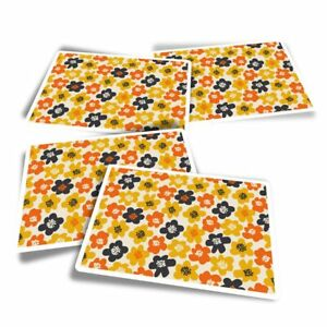 4x Rectangle Stickers - Yellow Floral Retro 60s Flower  #46496